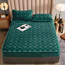 Embroidery Coral Fleece Mattress Protector Fitted Sheet Style Coverfor Mattress Solid Color Quilted Thick Soft Padfor Bed