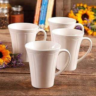 The Pioneer Woman Paige Dishwasher Safe 4-Piece Transparent Glaze Durable Stoneware Mug Set, Linen