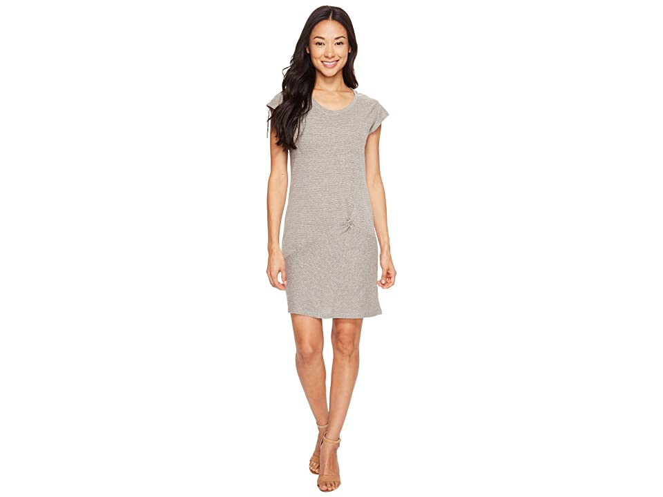 Mod-o-doc Pinstripe Jersey Asymmetrical Twist Front T-Shirt Dress (Grey) Women