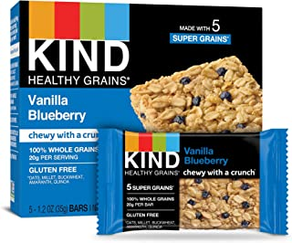 KIND Healthy Grains Bars, Vanilla Blueberry, Non GMO, Gluten Free,5 Count per pack, 6.2 Ounce, Pack of 3