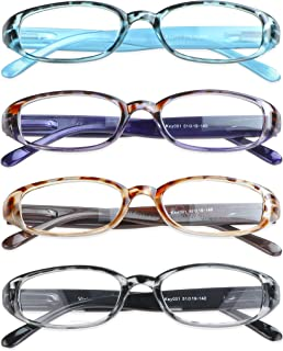 4 Pairs Reading Glasses with Spring Hinge, Blue Light Blocking Glasses for Women/Men(4 Color,+4.00 Magnification)