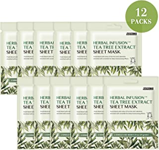 Herbal Infusion Tea Tree Extract Sheet Mask With Calendula Oil For Acne & Deep Moisture Fading Redness & Scars (Tea Tree / 12 MASKS)