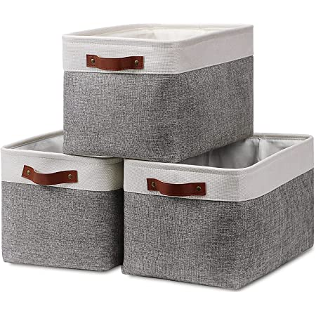 """Fabric Storage Baskets for Shelves(3 Pack) Large Collapsible Storage Baskets for Organizing, Decorative Baskets Bins Set with Handles for Closet, Clothes, Toy, Home(White&Gray,15"""" x 11"""" x 9.5"""")"""