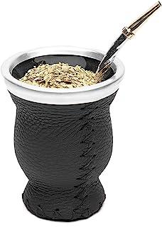 Sponsored Ad - Balibetov [New] Leather & Glass Yerba Mate Gourd Set (Mate Cup) with Yerba Mate Bombilla (Straw) (Black)