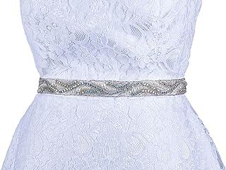 حزام زفاف مرصع بأحجار الراين حزام الزفاف كريستال إشبينة العروس وشاح اكسسوارات فستان للنساء