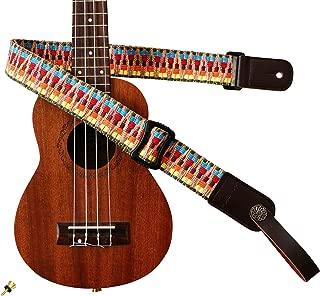 MUSIC FIRST Hawaii Woven Rainbow Adjustable 100% Cotton & Genuine Leather Ukulele Strap Shoulder Strap version 2.0 With a MUSIC FIRST Genuine Leather Strap Locker