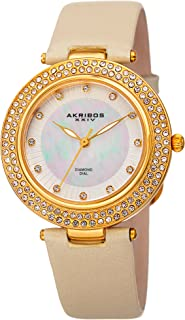 Akribos XXIV Women's Quartz Diamond, Crystal, & Mother-of-Pearl Gold-Tone & Champagne Leather Strap Watch - AK1008YG