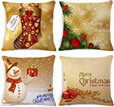 4 Pack Throw Pillow Covers, Christmas Pillow Covers 18 x 18 with Invisible Zipper Beautiful Design & Color for Holiday Season Decorations