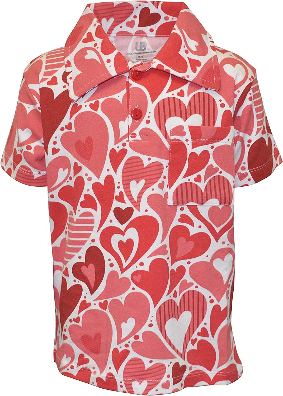 Unique Baby Boys Valentines Day Wavy Hearts Polo Shirt