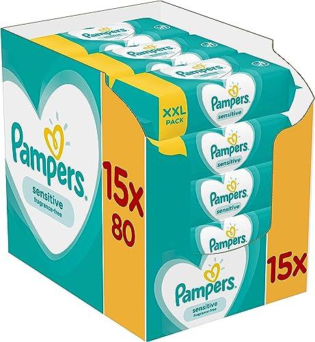 Pampers Lingettes Sensitive, Aident à Protéger la Peau des irritations et Sans Parfum ni Alcool, Lot de 15x80 Lingett...