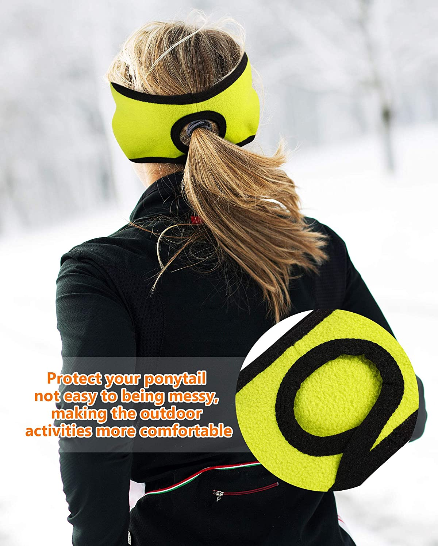 SATINIOR 4 Pieces Women's Fleece Ponytail Headband Winter Running Headband Ear Warmer Earband for Outdoor Sports