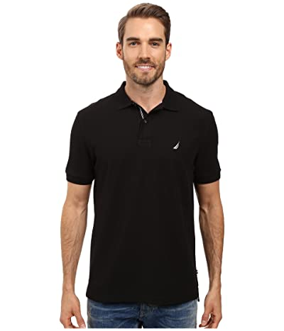 Nautica S/S Solid Polo With Tape (True Black) Men