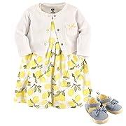 Hudson Baby Baby Girl Cotton Dress, Cardigan and Shoe Set, Lemon, 0-3 Months