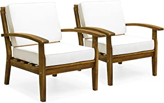 Best Choice Products Set of 2 Outdoor Acacia Wood Club Chairs w/Cushions, Cream