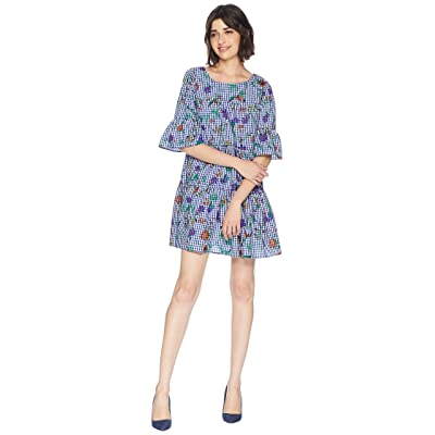 ROMEO & JULIET COUTURE Flower Print Gingham Dress (Blue/White) Women
