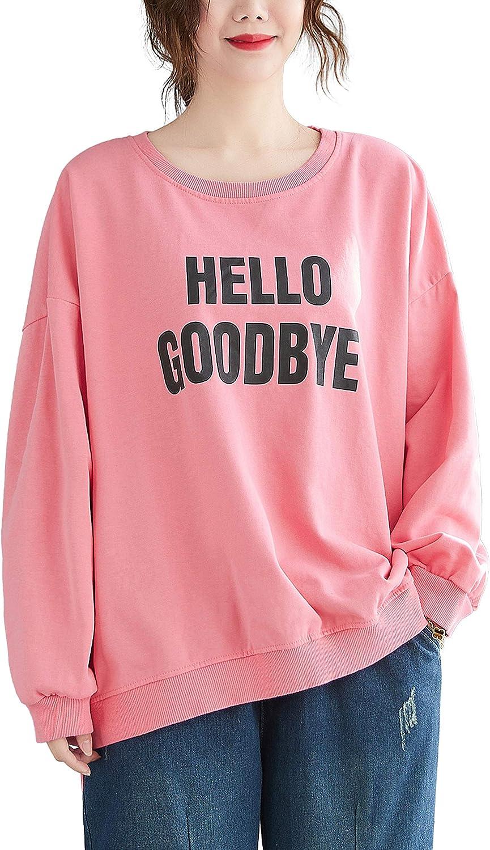 ellazhu Women Loose Casual Long Sleeve Letters Print Sweatshirt Tops GA2235