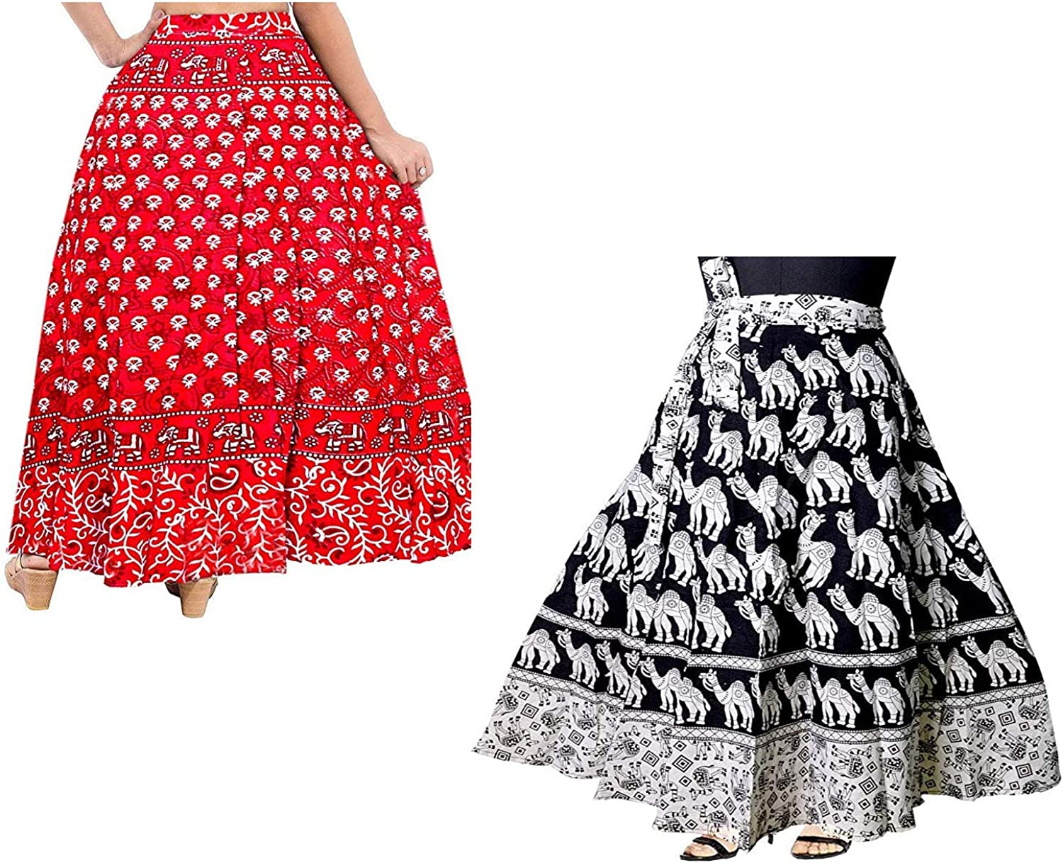 Cotton Skirt in Colorful and Floral Print Casual Wear for Women Pack of 2