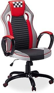 Relaxdays 10022898 Sedia da Gaming Speed Racing Poltrona Professionale da Computer Altezza Regolabile Ergonomica Nero Bian...