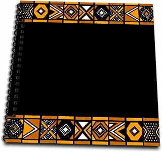 3dRose db_76556_1 Brown and Black African Pattern Art of Africa Inspired by Zulu Beadwork Geometric Designs Drawing Book, 8 by 8