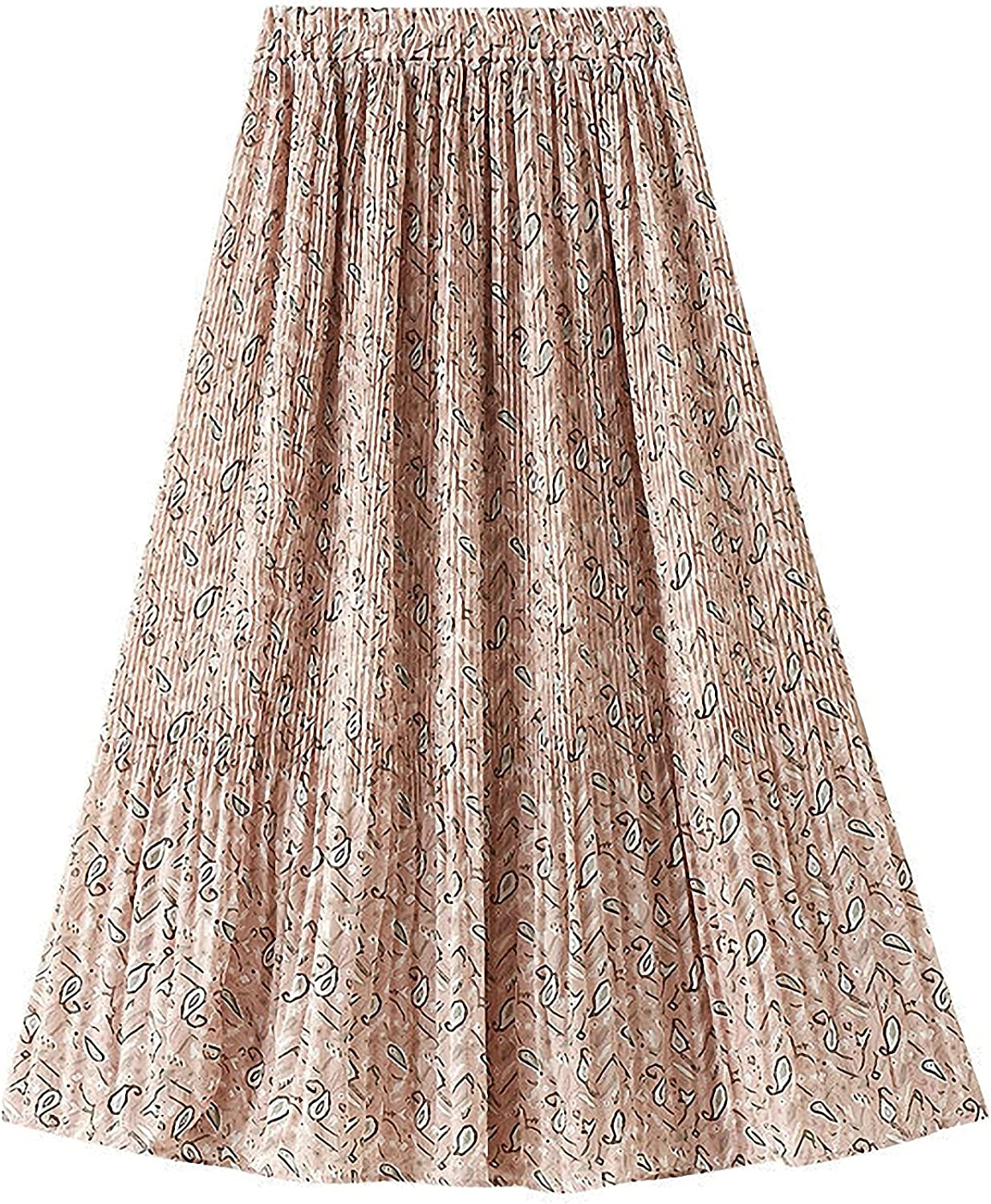 MEWOW Women's Pastoral Style Elastic Waist Floral A Line Pleated Midi Long Skirt
