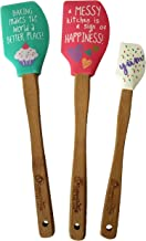 Silicone Rubber Bamboo Handle Cake Kitchen Spatula Gift Box Set of 3. Heat Resistant Fun Printed Flexible Pastry Baking Spatulas. 2 Large Spatulas and 1 Mini Spatula for scraping out small jars