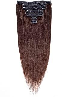 Dark Brown Human Hair Extensions Clip ins Thick Good Quality Human Hair Double Weft Brazilian Virgin Hair 7Pcs/set 18