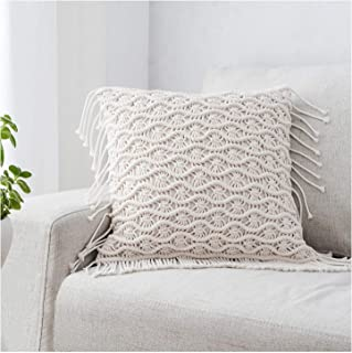 MREYYOO Macrame Pillow Cover Woven Throw Pillow Cover with Tassel Bohemian Decorative Pillow Cover for Couch, Bed, Sofa Macrame Rope Farmhouse Pillow Case, 17 x 17 Inches