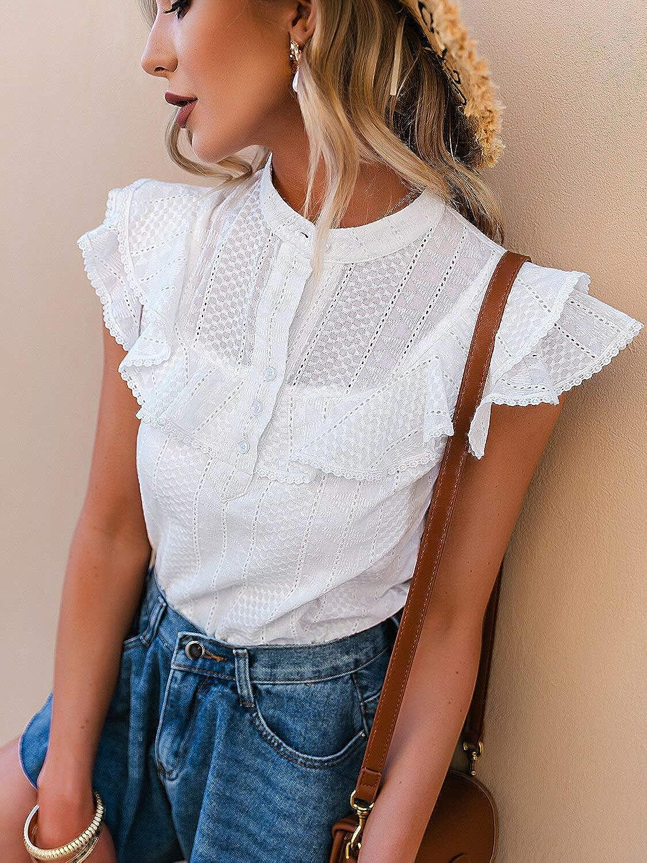 MulEtour Women's Casual Sleeveless Eyelet Ruffle Tank Top Round Neck Solid Summer Top Shirts