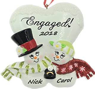 Personalized Snowman Engaged Couple Christmas Ornament- Free Personalization