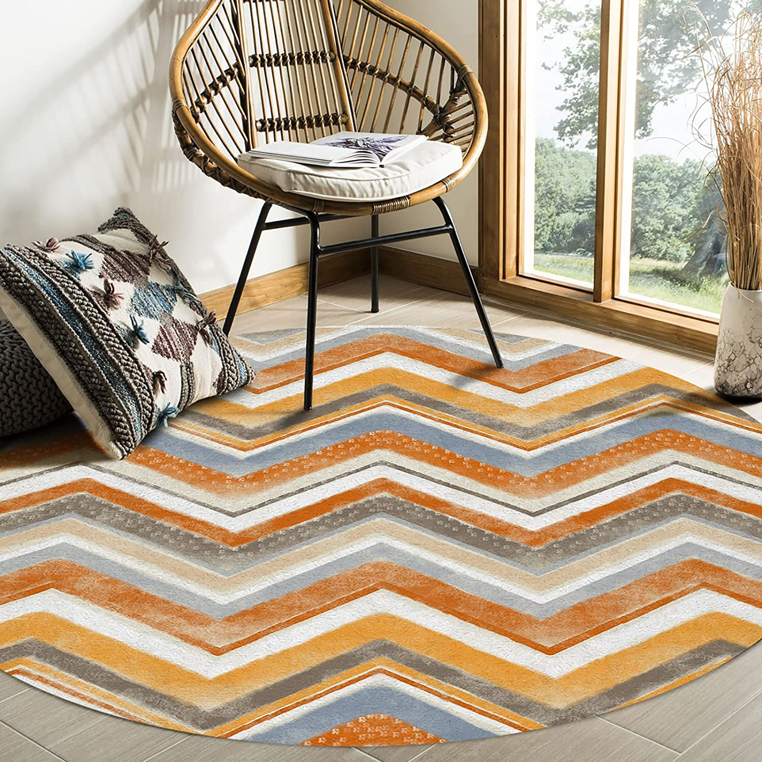 Olivefox Round Area Rugs Nordic Wholesale Style OFFicial shop Super Orange I Ripple Soft