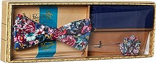Original Penguin 男士流浪者三件套花卉领带,方形口袋和翻领别针盒