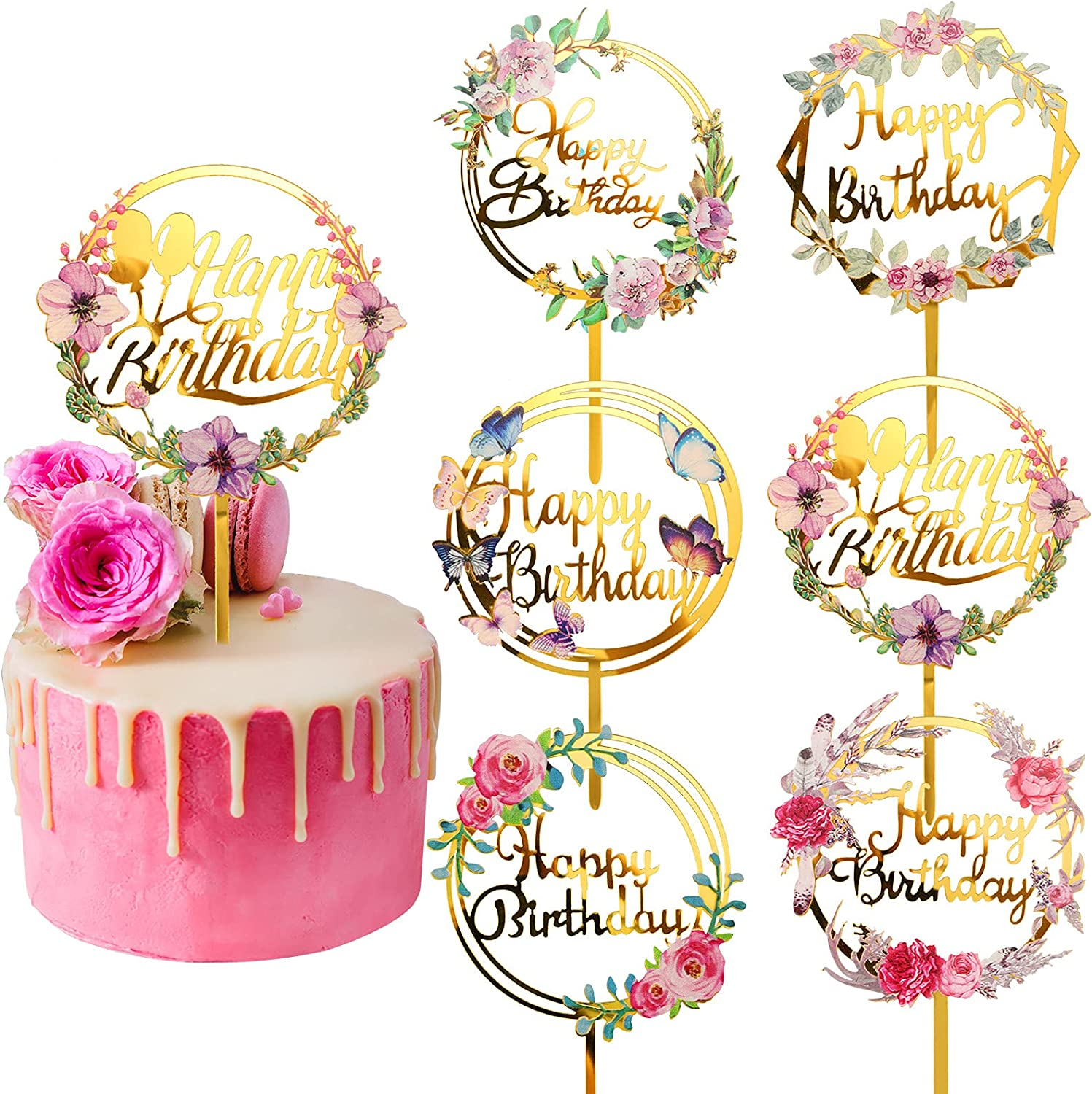 6 Pieces Happy Birthday Cake Flower Large discharge sale Toppers To Cheap mail order shopping Acrylic Gold