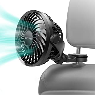 COMLIFE Baby Car Fan, 2200mAh Battery Powered Portable Car Air Circulator Fan, Powerful Quiet 4 Speed 360° Rotatable Backseat Car Fan for Sedan SUV RV, Must Have for Baby in Summer