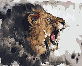 FAVOREADS Paint by Numbers Kit: Fierce Lion   DIY Canvas Painting for Adults & Kids   Pre-Printed Canvas, 3 Brushes & Acry...