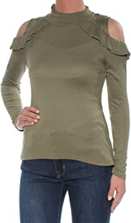 Maison Jules Womens Ribbed Trim Cold-Shoulder Blouse
