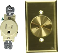 Leviton 5249-TFB 1-Gang Single Receptacle Floor Box, Tamper-Resistant, Brass Finish, 15-Amp, 125V