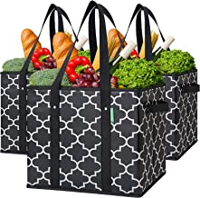 WiseLife Reusable Grocery Bags 3-Pack Foldable Washable Large Storage Bins Basket Water Resistant Shopping Tote Bag Black