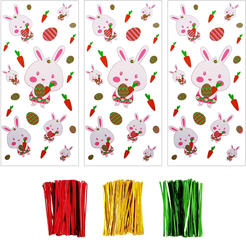 Boao 100 Pieces Cellophane Bags Halloween Christmas Treat Bags Clear Goodies Bags with 150 Pieces Twist Ties for Party Supplies (Style 7)