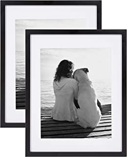 DesignOvation Gallery Wood Photo Frame Set for Customizable Wall Display, Pack of 2, 14x18 matted to 11x14, Black