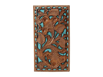 M&F Western Floral Pierced Embossed with Buckstitch Rodeo Wallet (Tan/Turquoise) Wallet Handbags