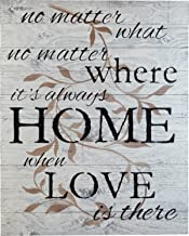 Rustic BARN Wood Pallet Sign - No Matter What, no Matter Where, its Always Home When Love is There Quote with Floral Leaf Size 24 x 30 Distressed Real Wood That Will Look Perfect on Your Family Wall