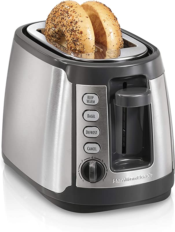 Hamilton Beach 22816 Slice Toaster With Keep Warm Bagel Defrost Settings Silver With Gray