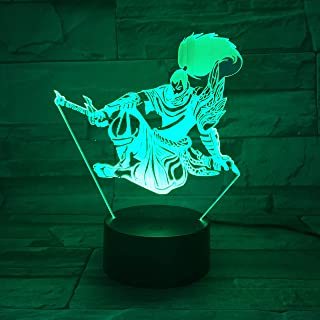 3D Illusion Light League of Legends LED Night Light Touch Remote Control 7 Color Changing Bedroom Yasuo Lámpara de mesa para niños Christmas Birthday Gift Light
