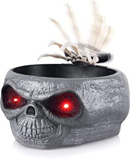 Homarden Animated Halloween Skull Bowl - Large Plastic Skull Candy Bowl with Creepy Moving Skeleton Hand - Motion Activated Halloween Grey Skull Candy Dishes with Light Up Eyes, Monster Sound Effects
