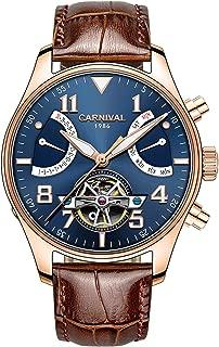 Men's Aviator Series Automatic Self Wind Mechanical Watch Luminous Steel Case Calfskin Band Analog Watch