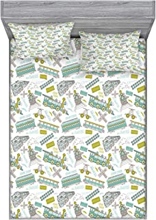 Ambesonne Steam Engine Fitted Sheet & Pillow Sham Set, Choo Choo Train Kids Boy Pattern Blue Green Number Plate Vintage, Decorative Printed 3 Piece Bedding Decor Set, Full, Apple Green