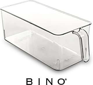 BINO Refrigerator, Freezer, Kitchen Pantry Cabinet Organizer Plastic Bin with Handle, Clear Plastic Storage Bins Refrigerator Organizer Bins Fridge Organizer Pantry Organizer Pantry Storage, Medium
