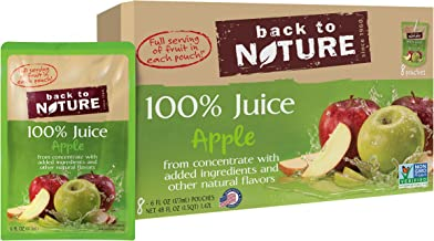 Back to Nature 100% Juice, Non-GMO Apple, 6 Ounce, 8 Count (Pack of 5)