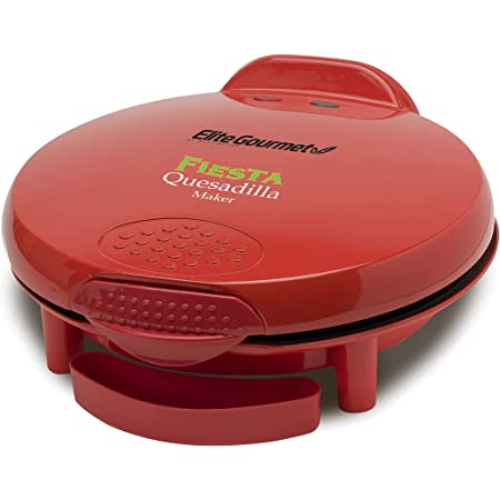 Elite Gourmet EQD-118 Non-Stick Electric, Mexican Taco Tuesday Quesadilla Maker, Easy-Slice 6-Wedge, Grilled Cheese (Red)