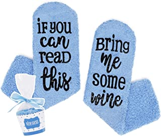 ANGUYA, Calcetines estampados - If You Can Read This bring Me Some wine - calcetines antideslizantes para el hogar, calcetines gruesos de invierno para mujer